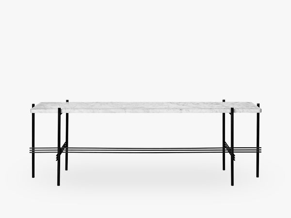 TS Console - 1 rack Black base, Marble white top fra GUBI