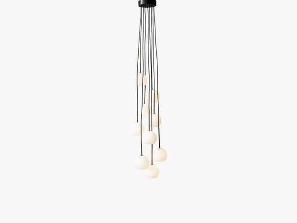 Ice Chandelier SR4, Bronzed brass/Opal fra &tradition