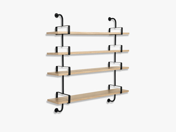 Démon Shelf - 2 Brackets - 155 cm 4 shelves, Oak shell fra GUBI