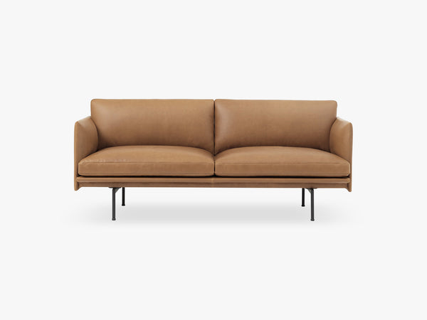 Outline Sofa - 2-Seater, Silk Leather - Cognac fra Muuto