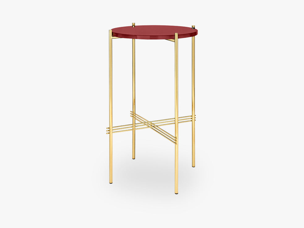 TS Console - Round - Dia 40 Brass base, glass rusty red top fra GUBI