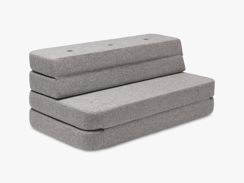 KK 3 Fold Sofa, Multi grey w grey buttons fra By KlipKlap