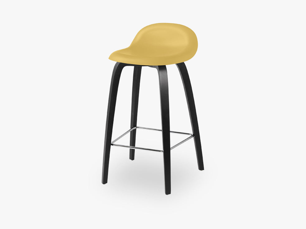 3D Counter Stool - Un-upholstered - 65 cm Black Stained Beech base, Venetian Gold shell fra GUBI