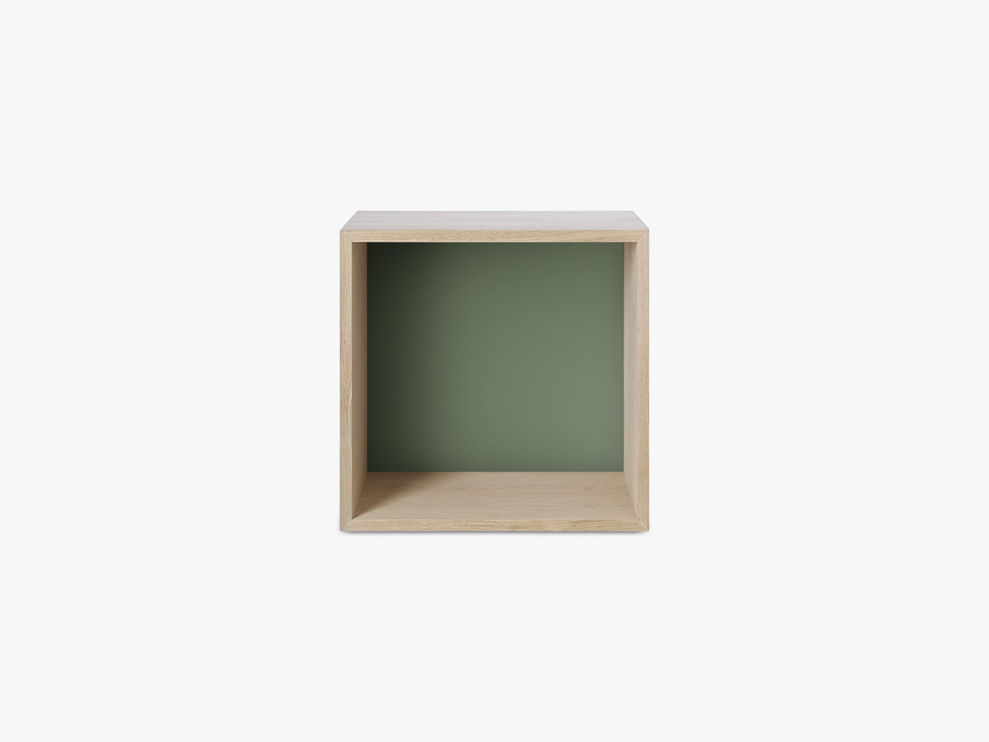 Stacked Storage System / Medium - Ash/Coloured Back, Medium - Backboard - Ash/Dusty Green fra Muuto