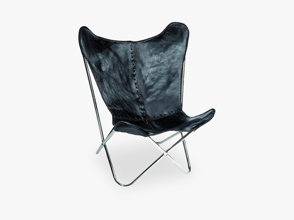 Butterfly chair, black leather/silv legs fra Nordal