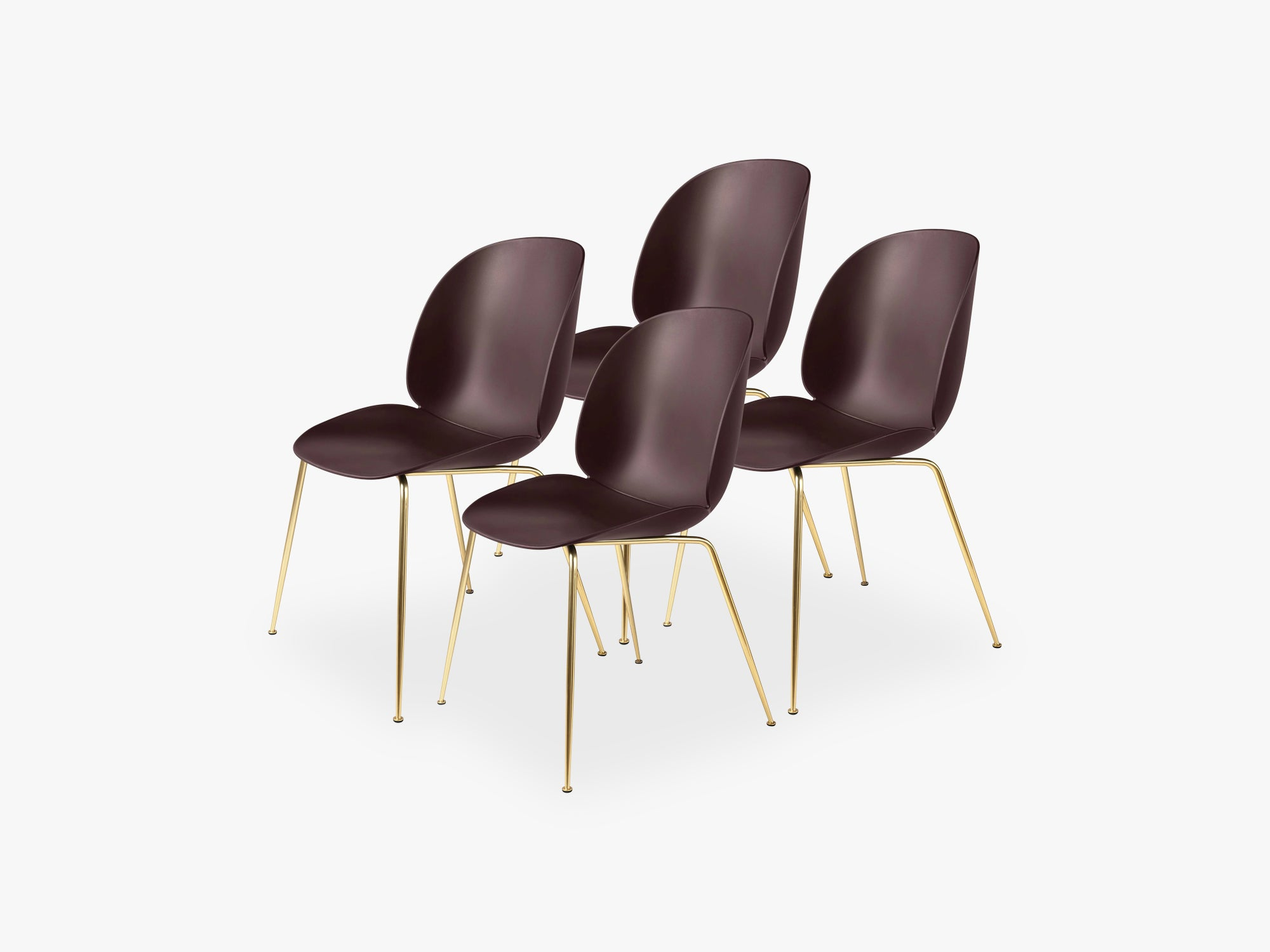 Beetle Dining Chair 4 pcs - Conic Brass Semi Matt Base, Dark Pink fra GUBI