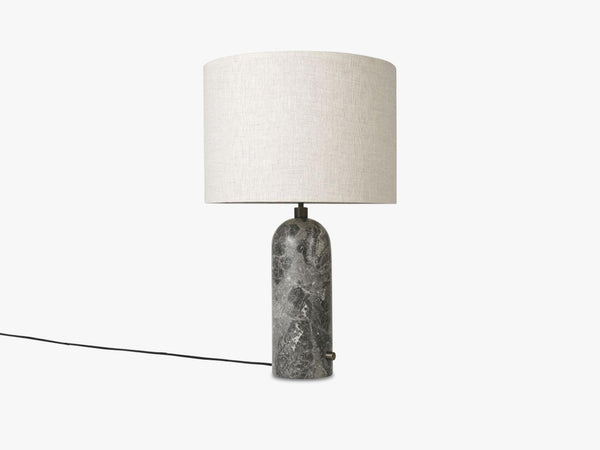 Gravity Table Lamp Large - Grey Marble base, Canvas shade fra GUBI