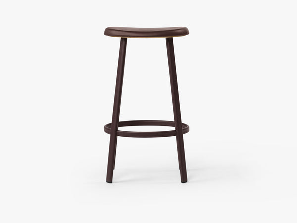 Anno Stool H75, Burgundy/Burgundy Red Leather fra MILLION