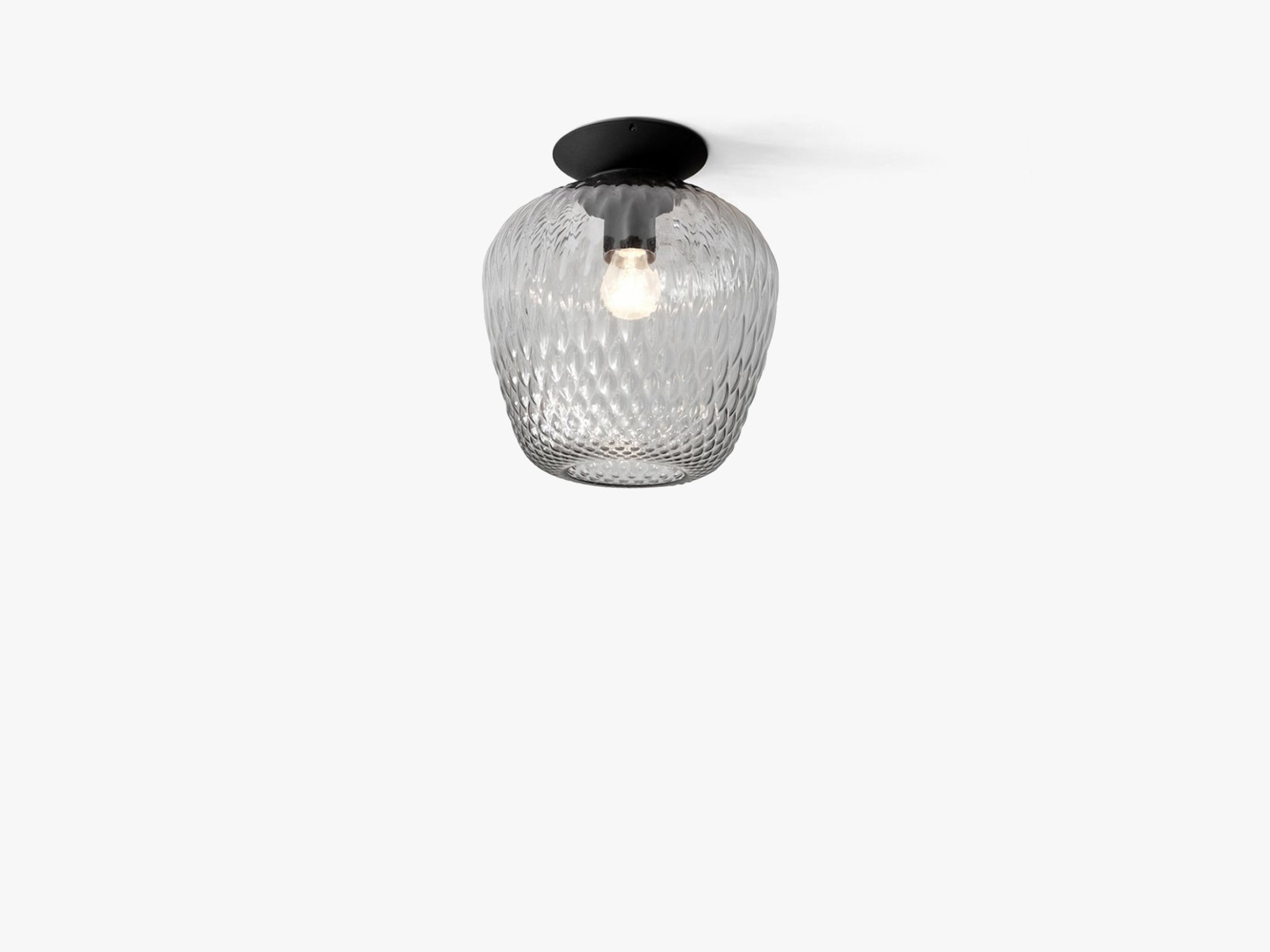 Blown Ceiling lamp - SW5, Silver lustre & black fra &tradition