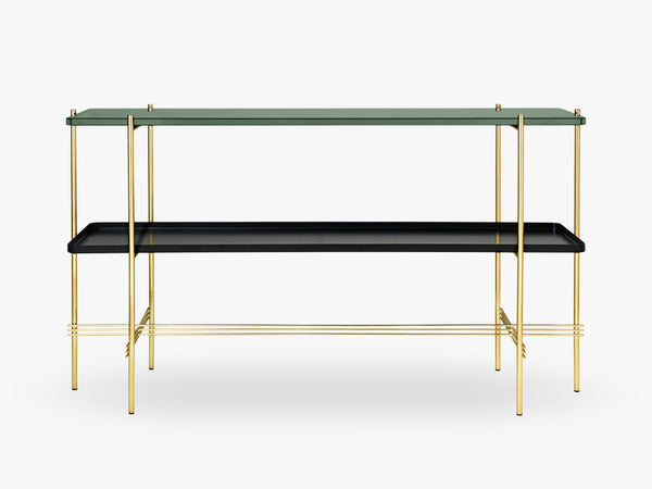 TS Console - 2 rack w tray Black base, glass dusty green top fra GUBI