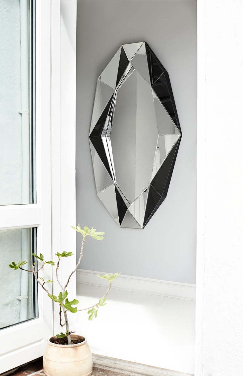 Diamond mirror large, Silver/Silver fra Reflections Copenhagen