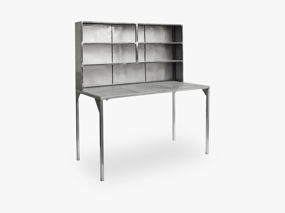 Iron table+cabinet, raw, grey fra Nordal