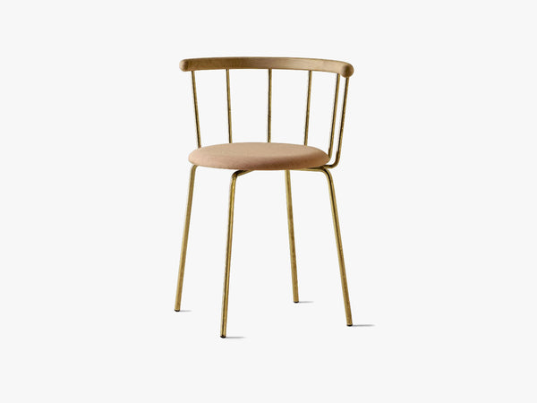 Babette Spisestuestol, Brass, Padded seat & Oak fra Eberhart Furniture