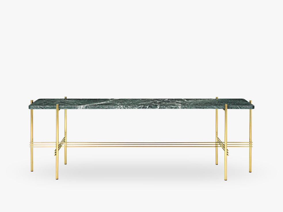 TS Console - 1 rack Brass base, marble green top fra GUBI
