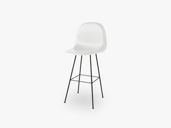 3D Bar Chair - Un-upholstered - 75 cm Center Black base, White Cloud shell fra GUBI