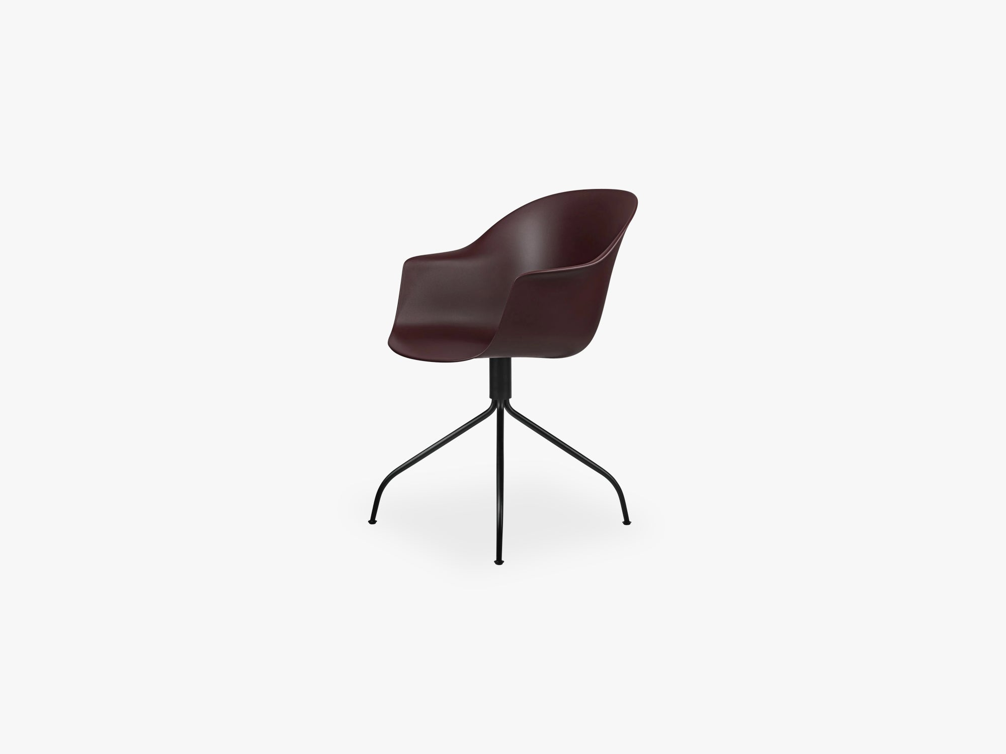 Bat Meeting Chair - Skal m Swivel base - Black Matt, Dark Pink fra GUBI