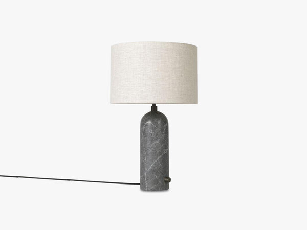 Gravity Table Lamp Small - Grey Marble base, Canvas shade fra GUBI