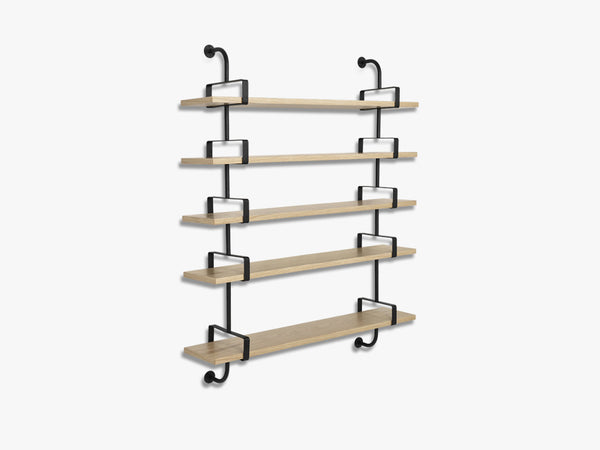 Démon Shelf - 2 Brackets - 155 cm 5 shelves, Oak shell fra GUBI