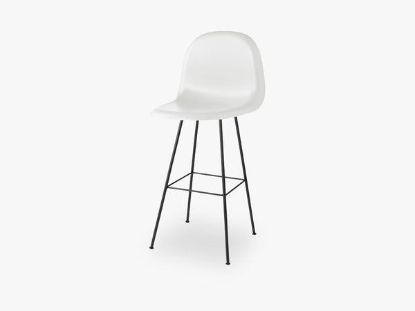 3D Bar Stool - Un-upholstered - 75 cm Center Black base, White Cloud shell fra GUBI