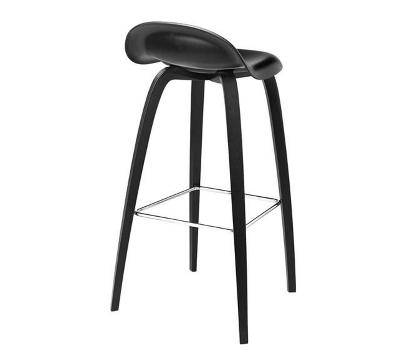 3D Bar Stool - Un-upholstered - 75 cm Black Stained Beech base, Black Stained Beech shell fra GUBI