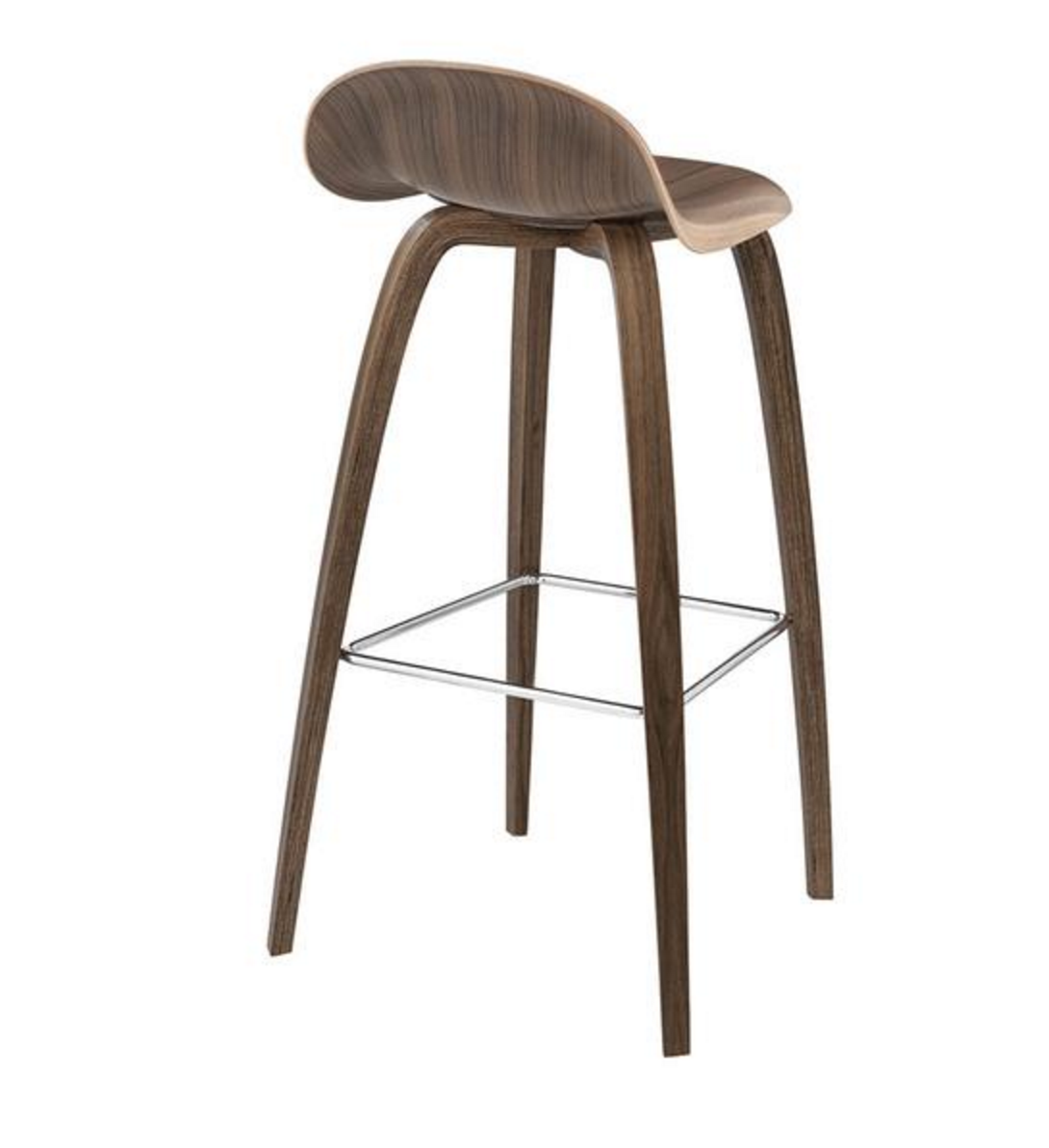 3D Bar Stool - Un-upholstered - 75 cm Center Black base, American Walnut shell fra GUBI