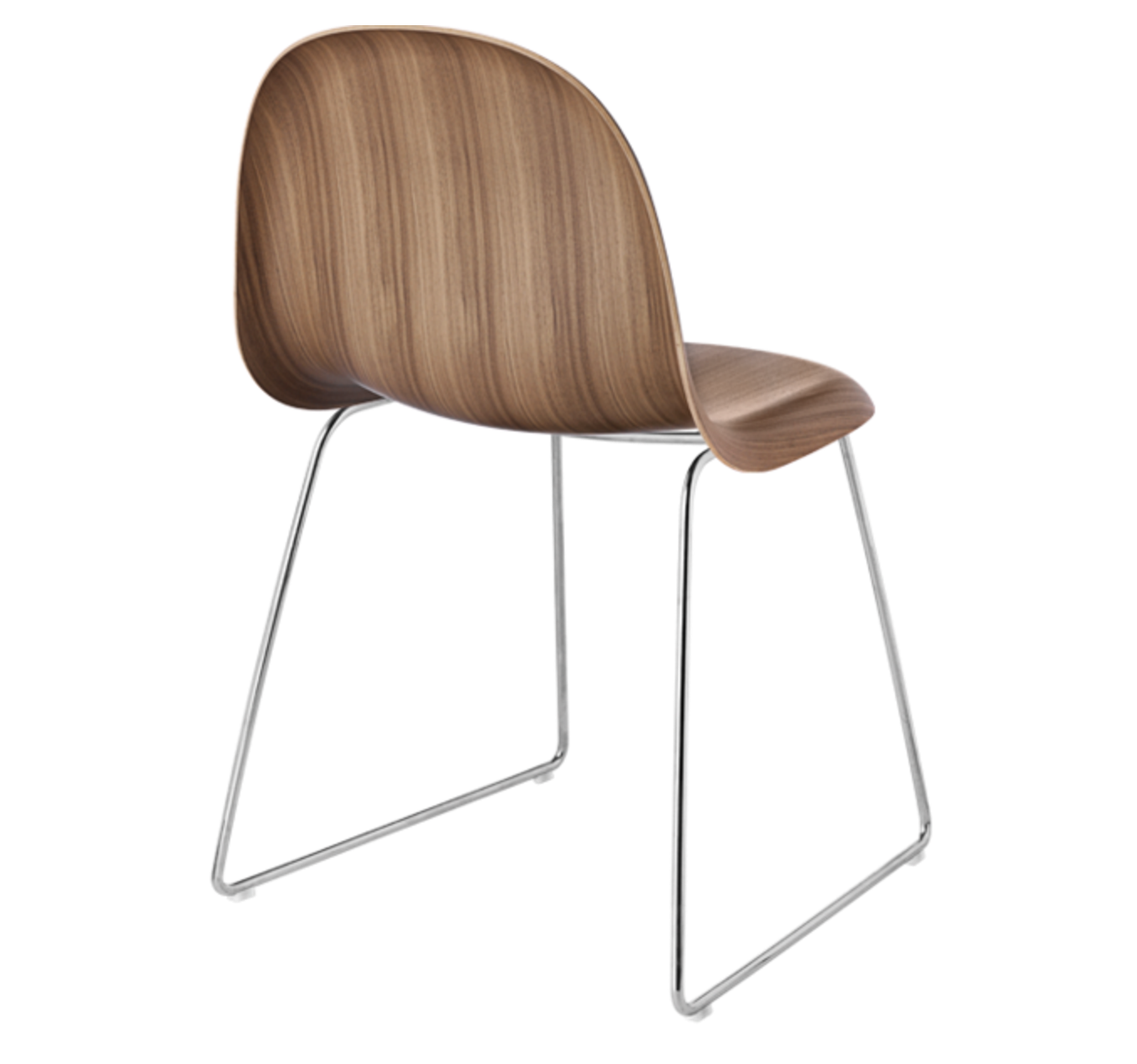 3D Dining Chair - Un-upholstered Sledge Crome base, American Walnut shell fra GUBI