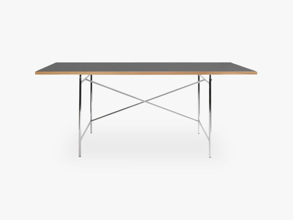 Linoleum Table Top, Dark Grey (Pewter) with Oak Edges fra Egon Eiermann