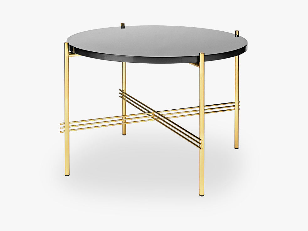 TS Coffee Table - Dia 55 Brass base, glass Graphite Black top fra GUBI