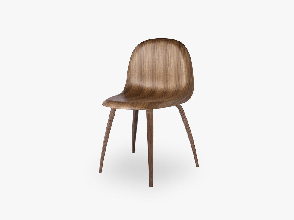 3D Dining Chair - Un-upholstered American Walnut base, American Walnut shell fra GUBI