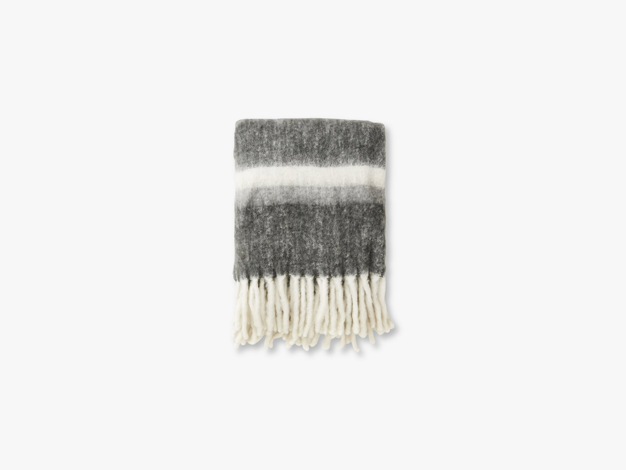 Blanket, grey stripes mohair look fra Nordal