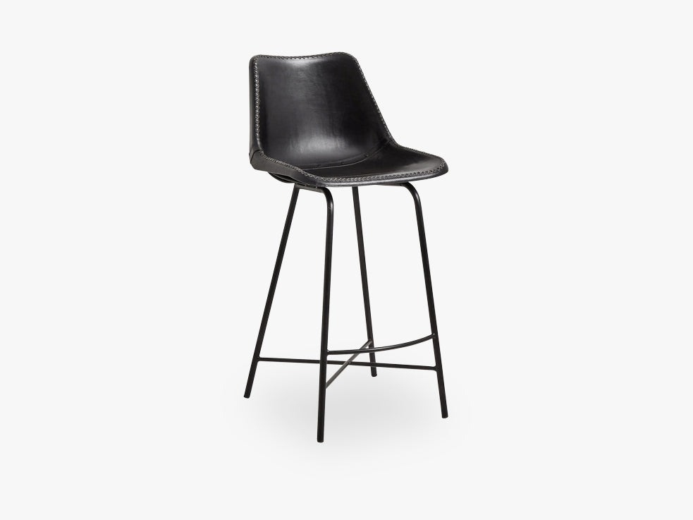 Bar chair, leather, w/iron legs, black fra Nordal