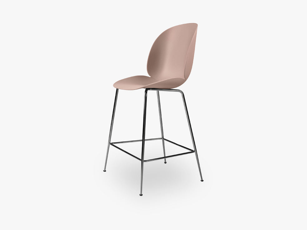 Beetle Counter Chair - Un-upholstered - 64 cm Conic Black Chrome base, Sweet Pink shell fra GUBI