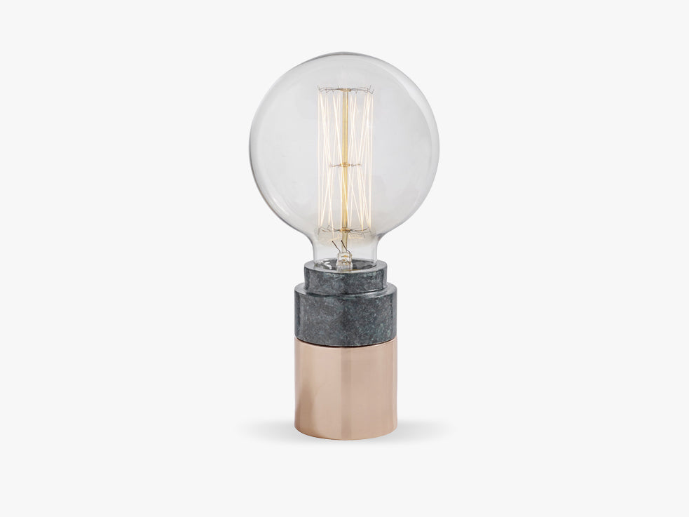 GREEN MARBLE table lamp, copper fra Nordal
