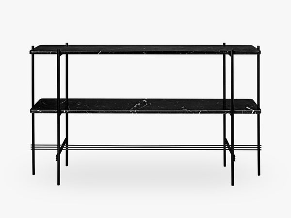 TS Console - 2 rack Black base, Marble black top fra GUBI