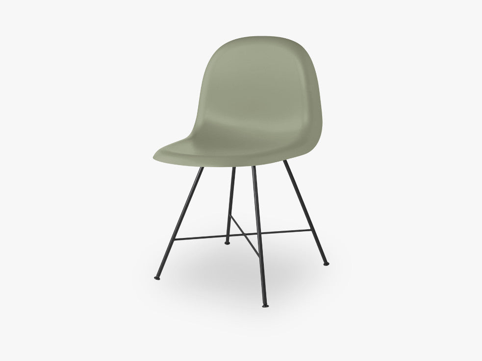 3D Dining Chair - Un-upholstered Center Black base, Mistletoe Green shell fra GUBI