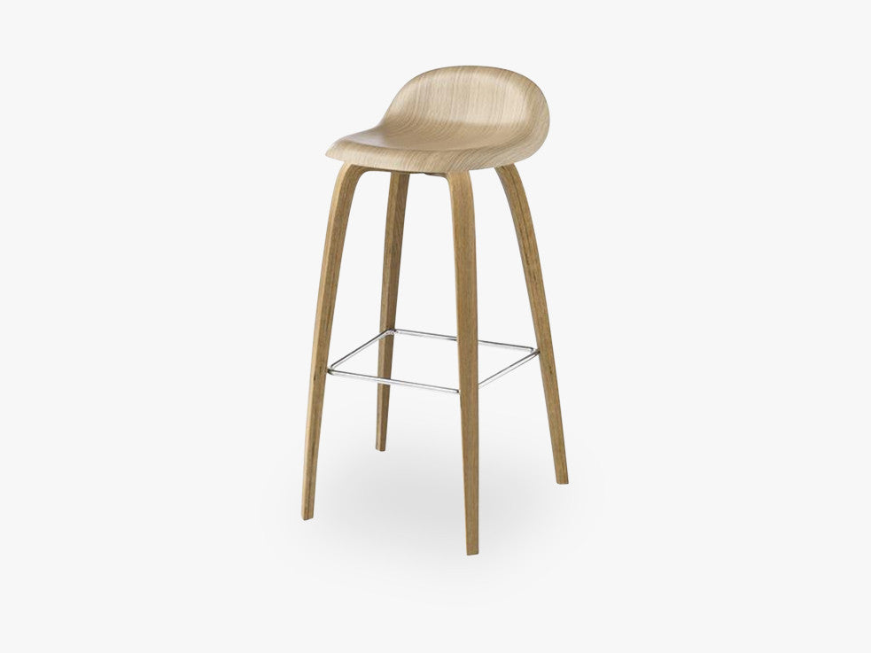 3D Bar Stool - Un-upholstered - 75 cm Sledge Black base, Black Stained Beech shell fra GUBI