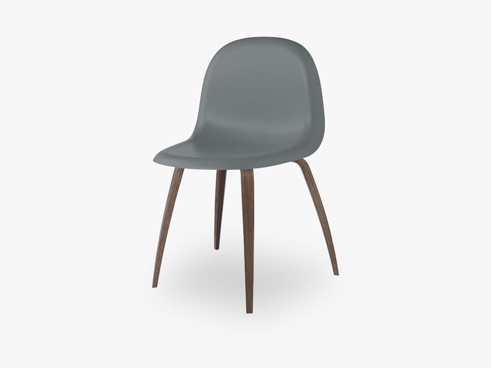 3D Dining Chair - Un-upholstered American Walnut base, Rainy Grey shell fra GUBI