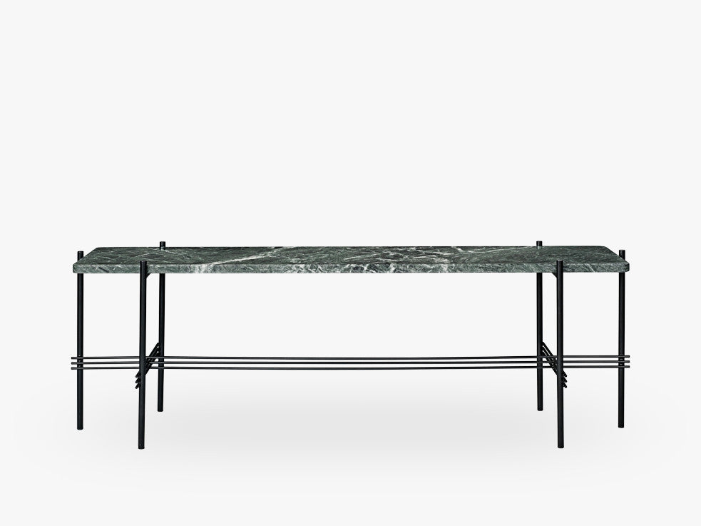 TS Console - 1 rack Black base, Marble green top fra GUBI
