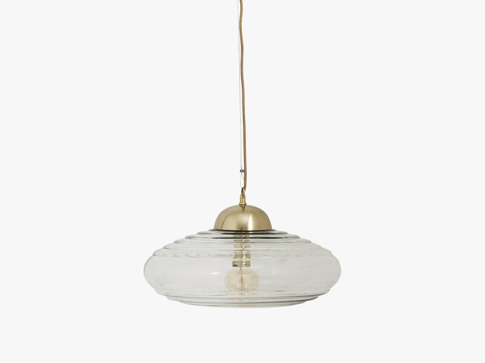 DISC hanging lamp, clear glass, brass fra Nordal