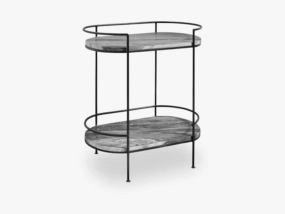 MIDNIGHT oval side table, black marble fra Nordal
