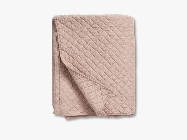 Cotton quilt, bed spread, dusty rose fra Nordal