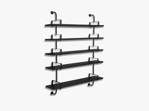 Démon Shelf - 2 Brackets - 155 cm 5 shelves, Black Stained Ash shell fra GUBI
