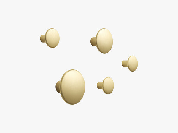 The Dots Metal Coat Hooks / Set Of 5, Brass fra Muuto