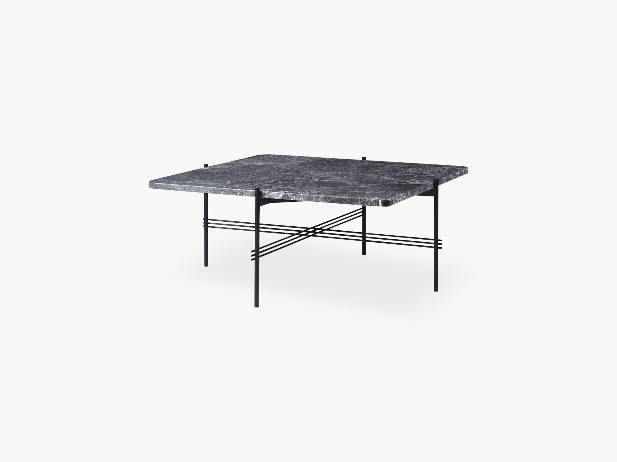 TS Coffee Table  Square black base, Marble Grey top 80cm fra GUBI
