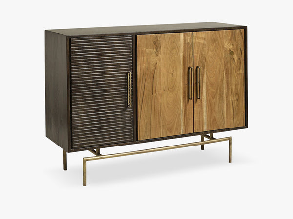 Buffet, dark wood, golden handles, 3 sec fra Nordal