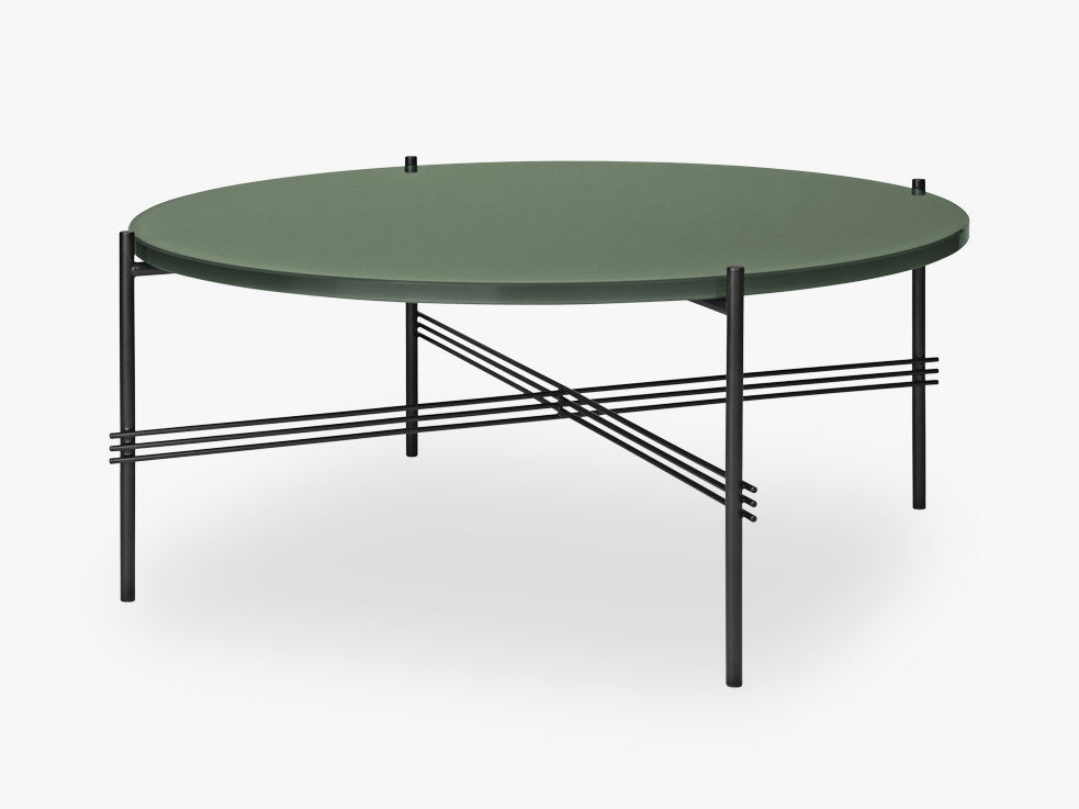 TS Coffee Table - Dia 80 Black base, glass dusty green top fra GUBI