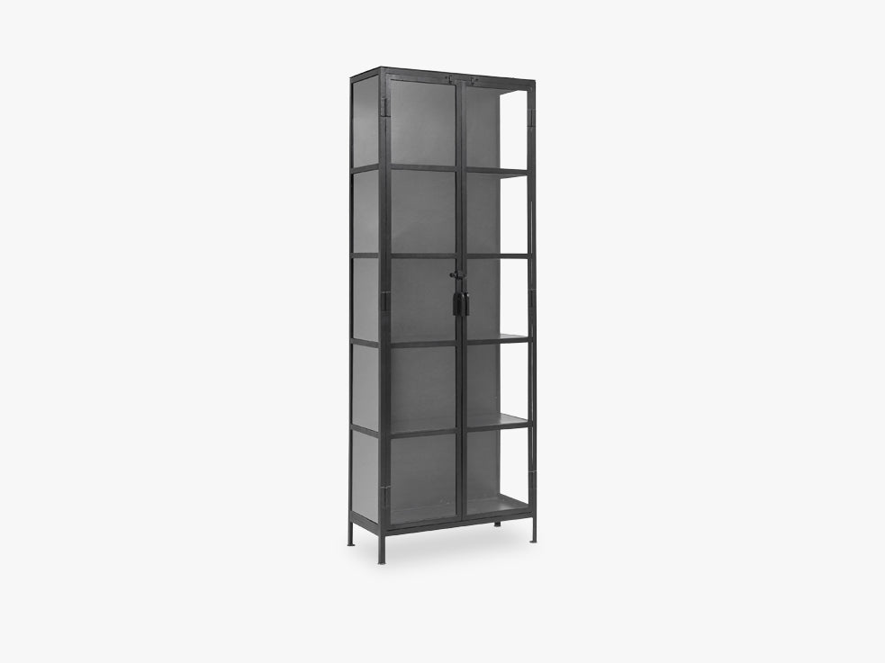 Black cabinet, 2 doors, iron/glass fra Nordal