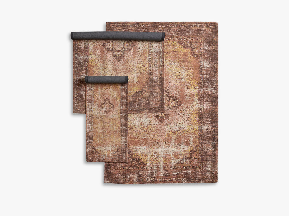INDO woven rug, rust/curry fra Nordal