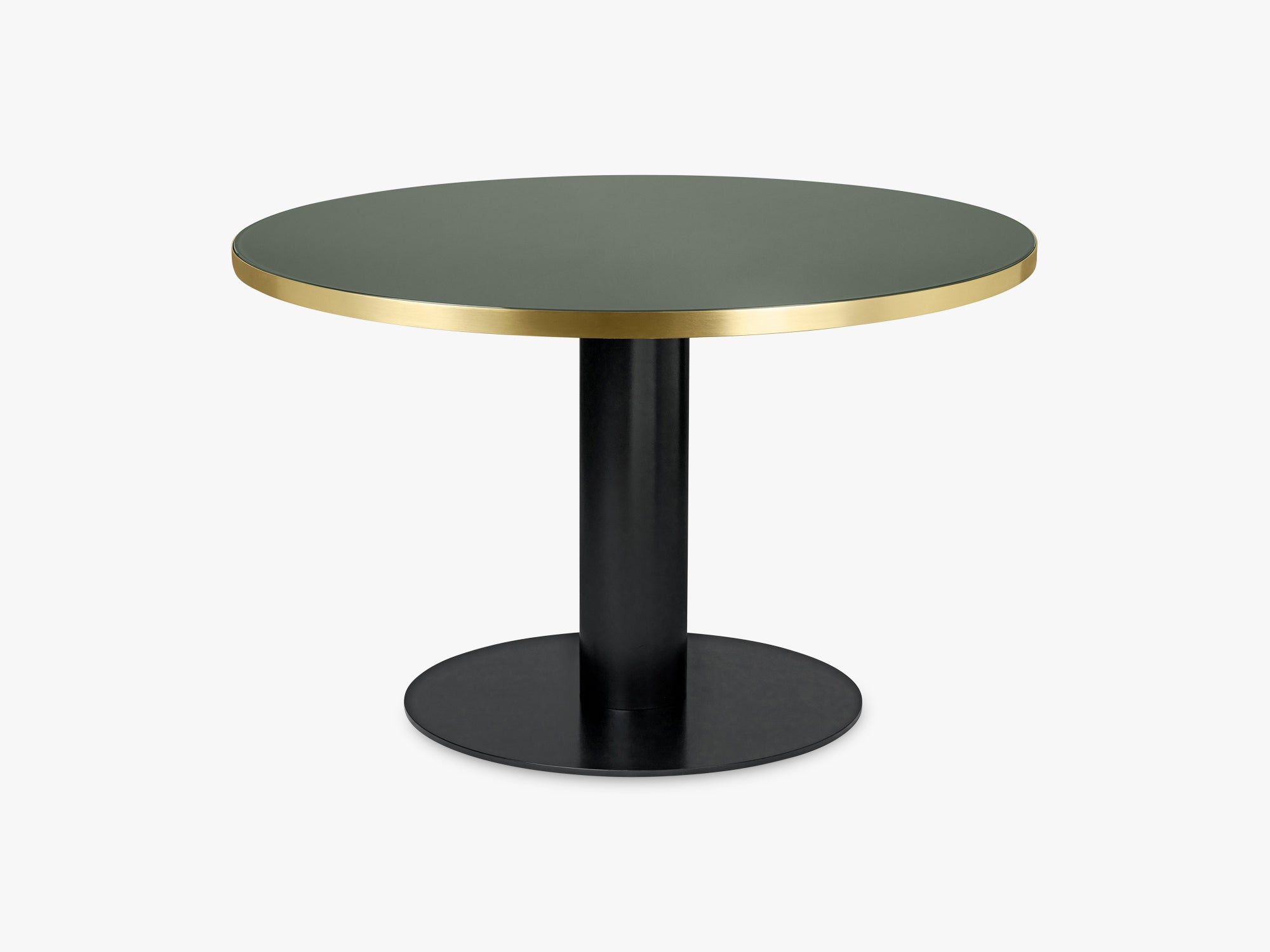 GUBI 2.0 Dining Table - Round - Ø125 - Black base, Glass Bottle Green top fra GUBI