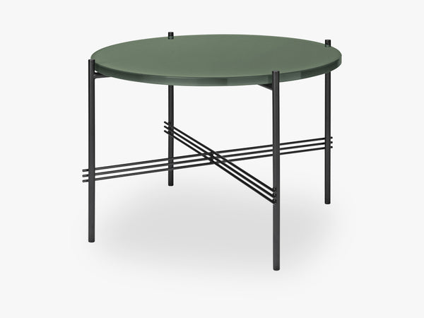 TS Coffee Table - Dia 55 Black base, glass dusty green top fra GUBI